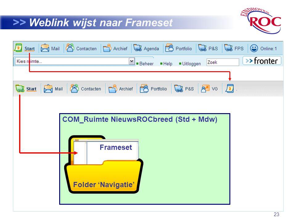 23 >> Weblink wijst naar Frameset COM_Ruimte NieuwsROCbreed (Std + Mdw) Frameset Folder 'Navigatie'