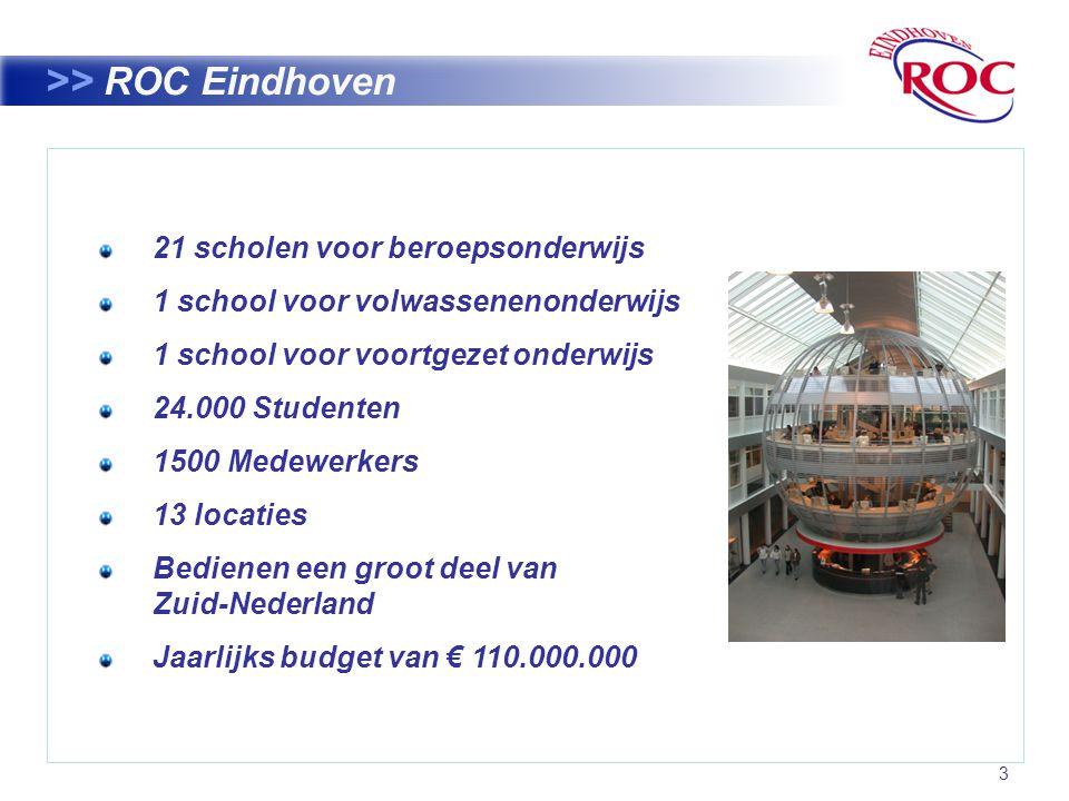 3 >> ROC Eindhoven 21 scholen voor beroepsonderwijs 1 school voor volwassenenonderwijs 1 school voor voortgezet onderwijs 24.000 Studenten 1500 Medewerkers 13 locaties Bedienen een groot deel van Zuid-Nederland Jaarlijks budget van € 110.000.000