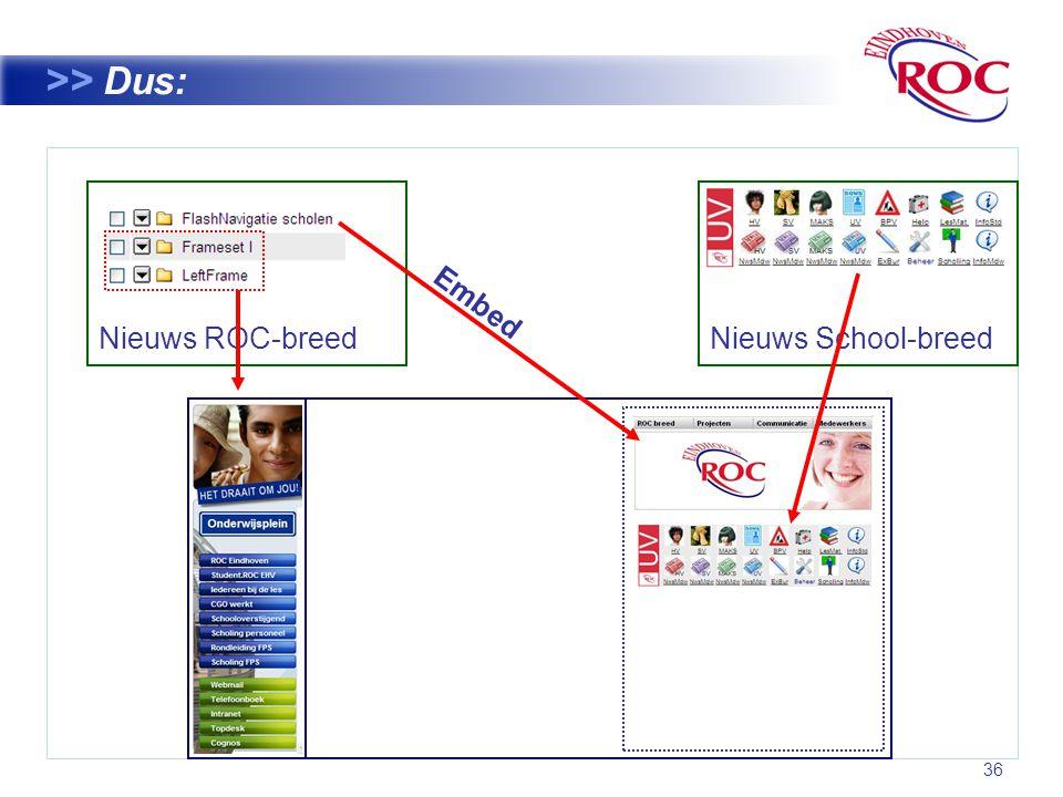 36 >> Dus: Nieuws ROC-breed Nieuws School-breed Embed