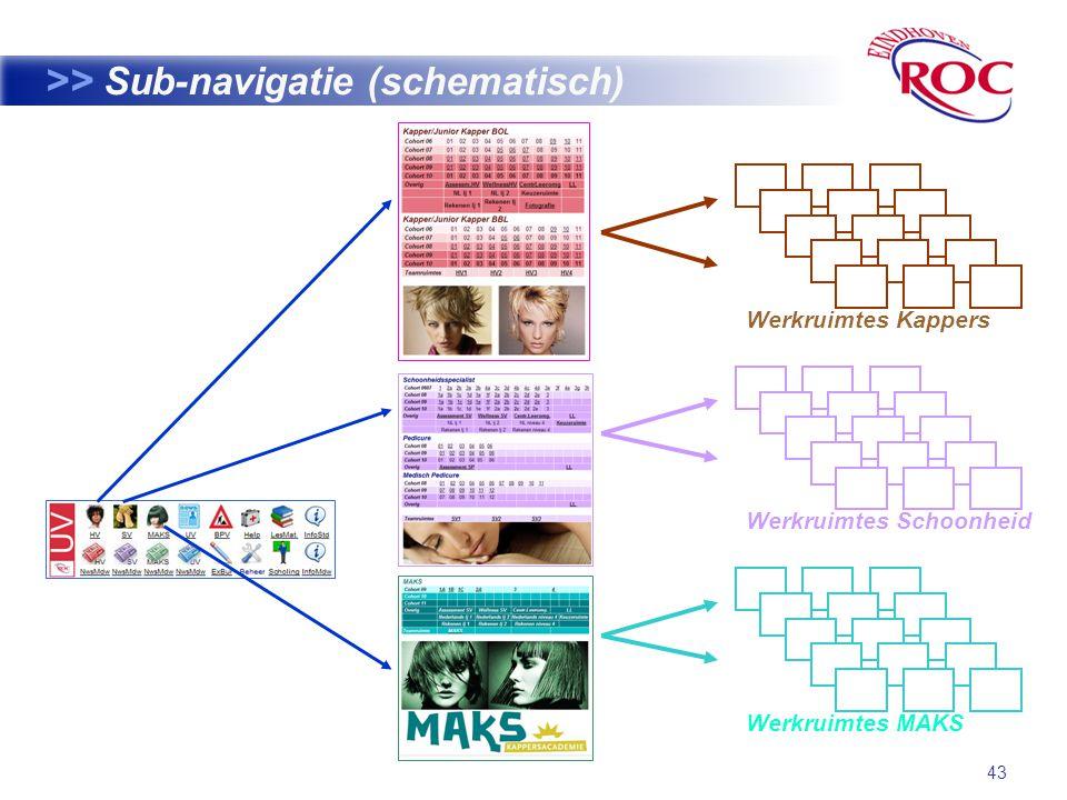43 >> Sub-navigatie (schematisch) Werkruimtes Kappers Werkruimtes Schoonheid Werkruimtes MAKS