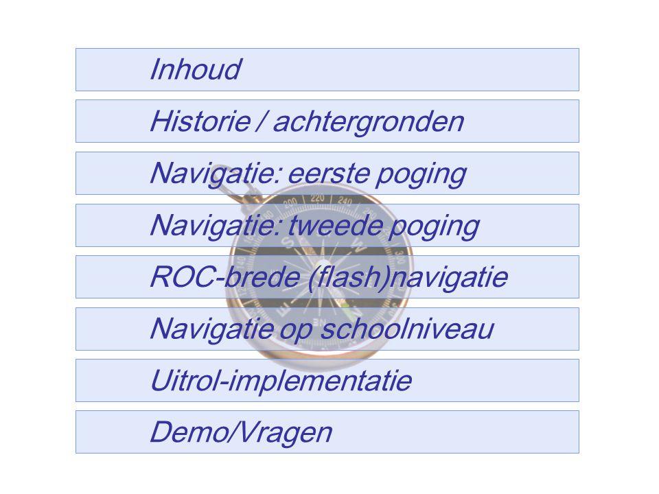 5 Historie / achtergronden Navigatie: eerste poging ROC-brede (flash)navigatie Navigatie: tweede poging Navigatie op schoolniveau Uitrol-implementatie Inhoud Demo/Vragen