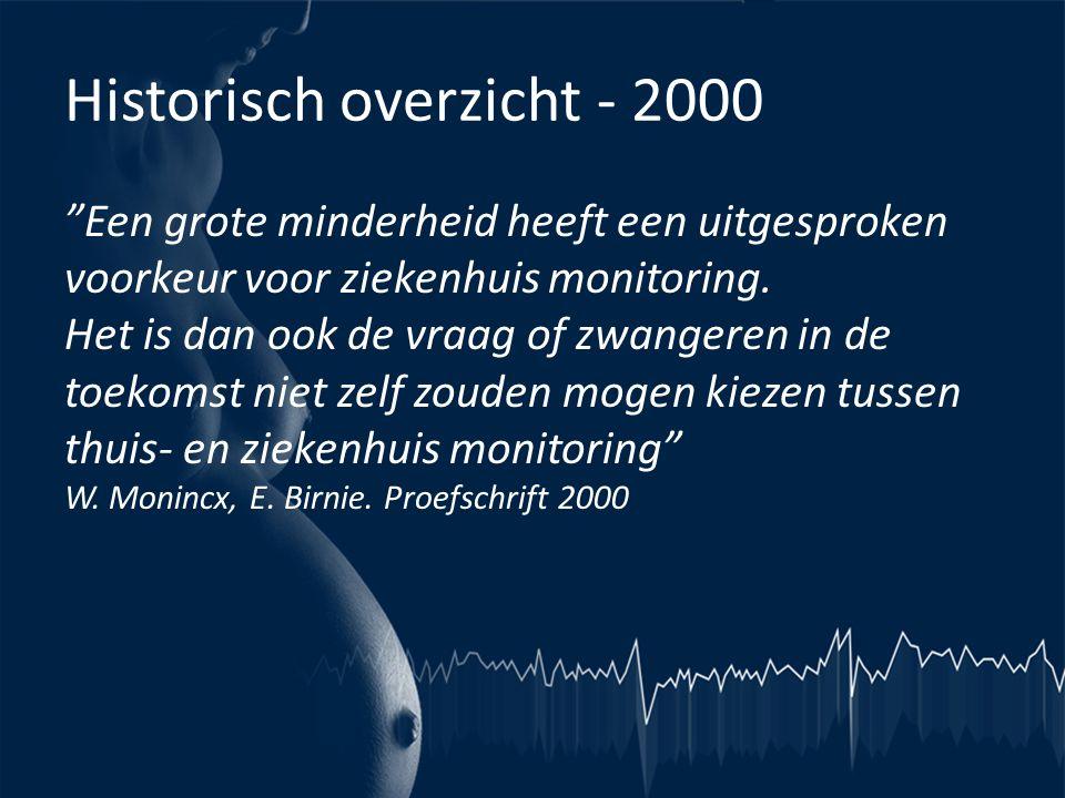 """Historisch overzicht - 2000 """"Een grote minderheid heeft een uitgesproken voorkeur voor ziekenhuis monitoring. Het is dan ook de vraag of zwangeren in"""