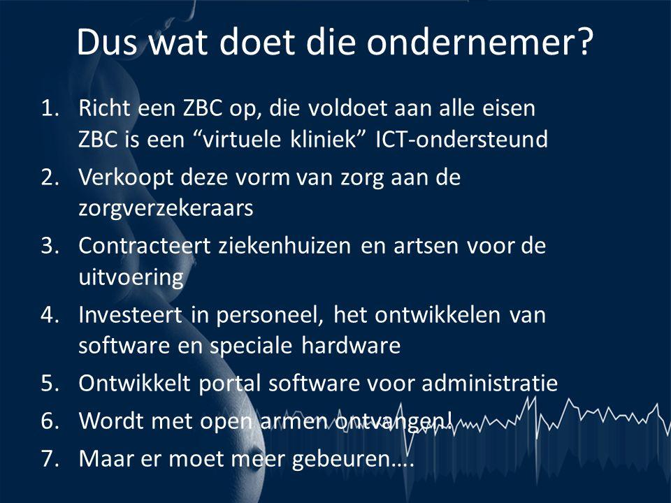 """Dus wat doet die ondernemer? 1.Richt een ZBC op, die voldoet aan alle eisen ZBC is een """"virtuele kliniek"""" ICT-ondersteund 2.Verkoopt deze vorm van zor"""