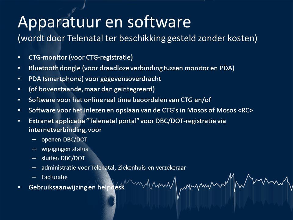 Apparatuur en software (wordt door Telenatal ter beschikking gesteld zonder kosten) • CTG-monitor (voor CTG-registratie) • Bluetooth dongle (voor draa