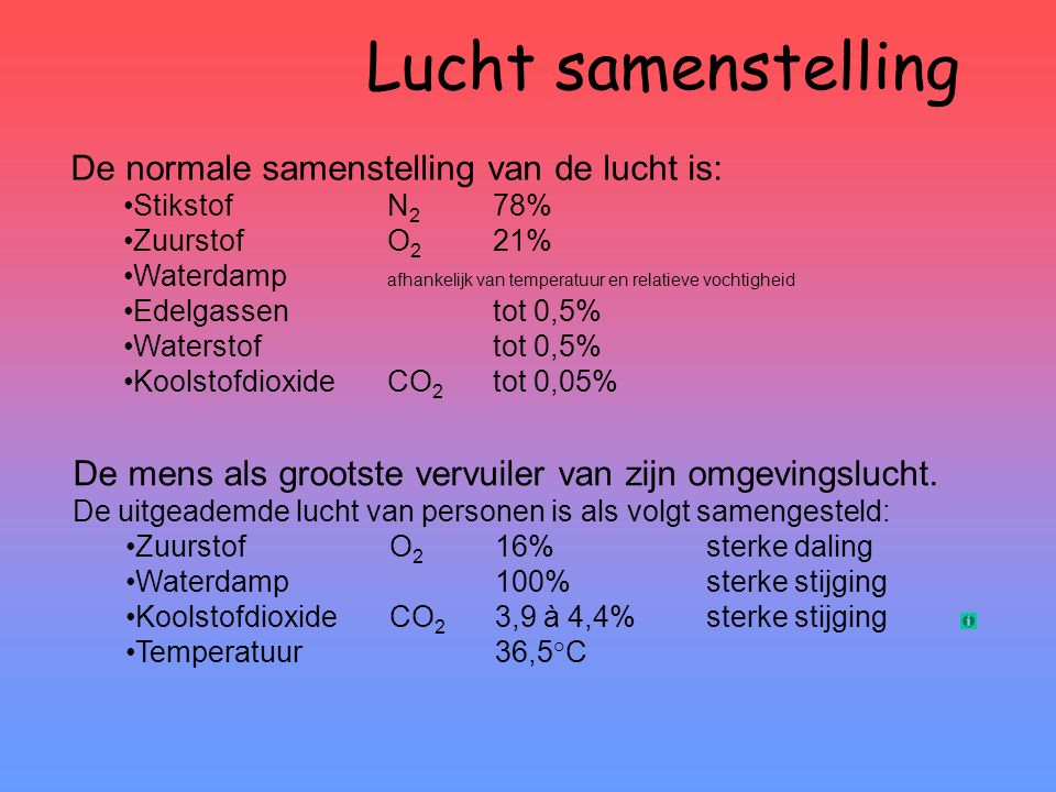 Lucht samenstelling De normale samenstelling van de lucht is: •StikstofN 2 78% •ZuurstofO 2 21% •Waterdamp afhankelijk van temperatuur en relatieve vo
