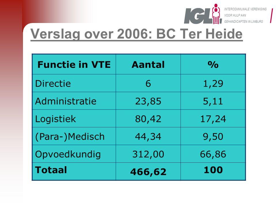 Functie in VTEAantal% Directie61,29 Administratie23,855,11 Logistiek80,4217,24 (Para-)Medisch44,349,50 Opvoedkundig312,0066,86 Totaal 466,62 100