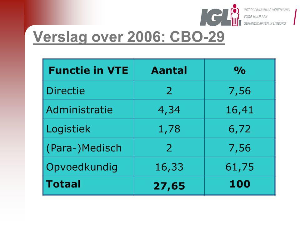 Verslag over 2006: CBO-29 Functie in VTEAantal% Directie27,56 Administratie4,3416,41 Logistiek1,786,72 (Para-)Medisch27,56 Opvoedkundig16,3361,75 Totaal 27,65 100