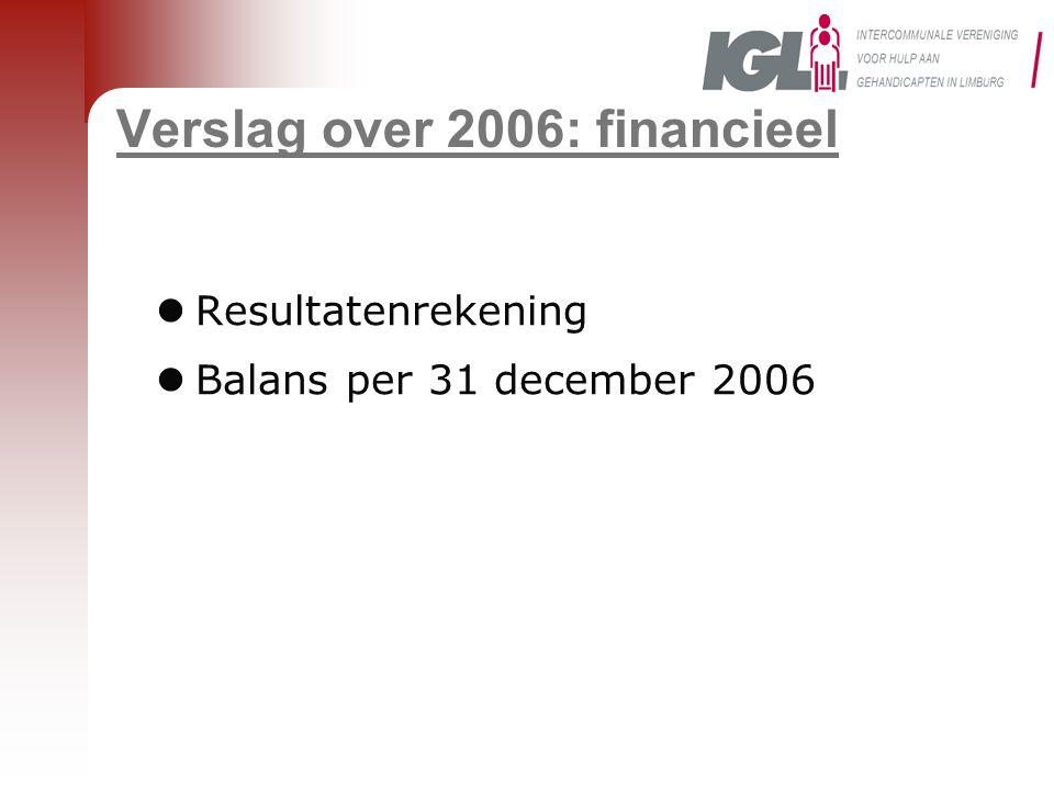 Verslag over 2006: financieel  Resultatenrekening  Balans per 31 december 2006