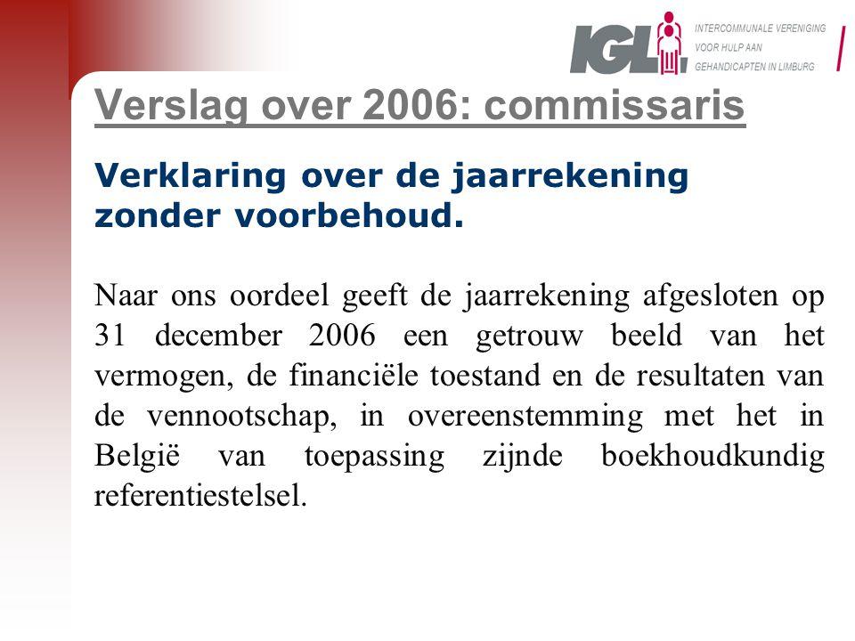 Verslag over 2006: commissaris Verklaring over de jaarrekening zonder voorbehoud. Naar ons oordeel geeft de jaarrekening afgesloten op 31 december 200