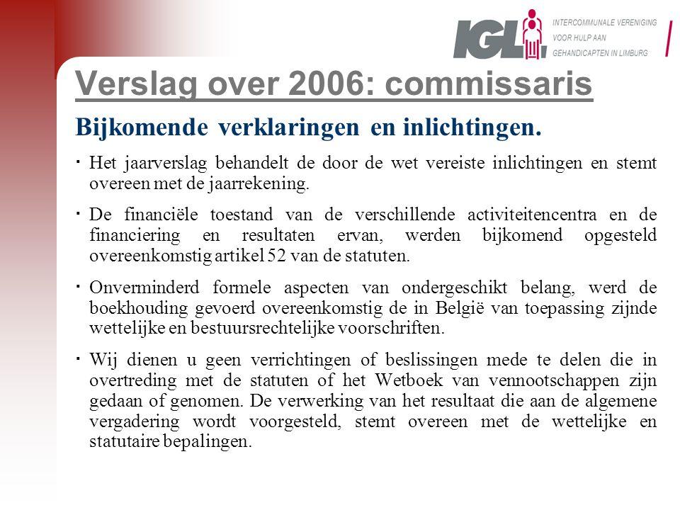 Verslag over 2006: commissaris Bijkomende verklaringen en inlichtingen.  Het jaarverslag behandelt de door de wet vereiste inlichtingen en stemt over
