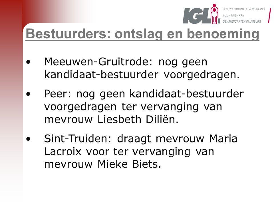 Bestuurders: ontslag en benoeming •Meeuwen-Gruitrode: nog geen kandidaat-bestuurder voorgedragen. •Peer: nog geen kandidaat-bestuurder voorgedragen te