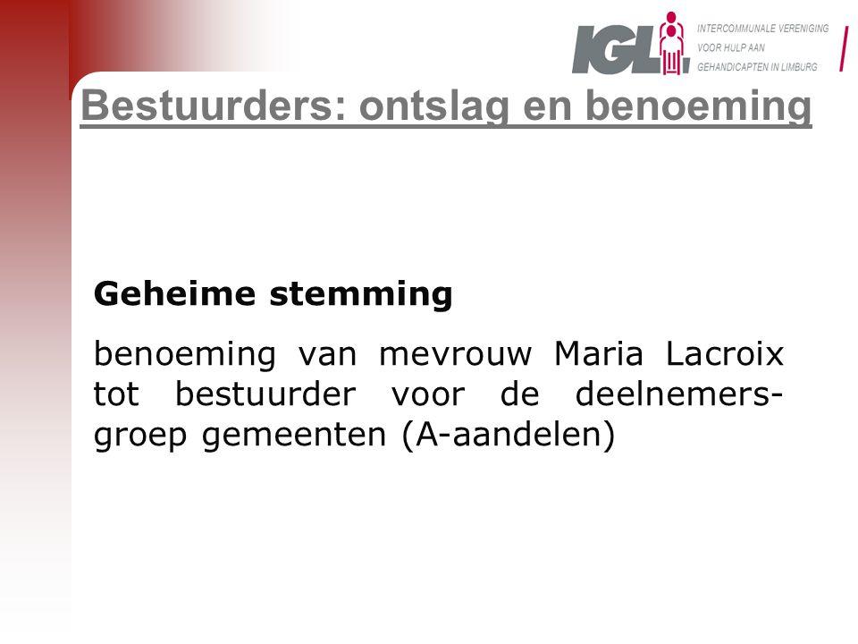 Bestuurders: ontslag en benoeming Geheime stemming benoeming van mevrouw Maria Lacroix tot bestuurder voor de deelnemers- groep gemeenten (A-aandelen)