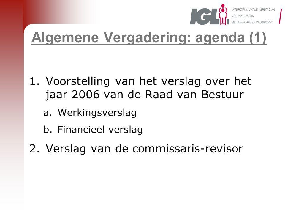 Algemene Vergadering: agenda (1) 1.Voorstelling van het verslag over het jaar 2006 van de Raad van Bestuur a.Werkingsverslag b.Financieel verslag 2.Ve