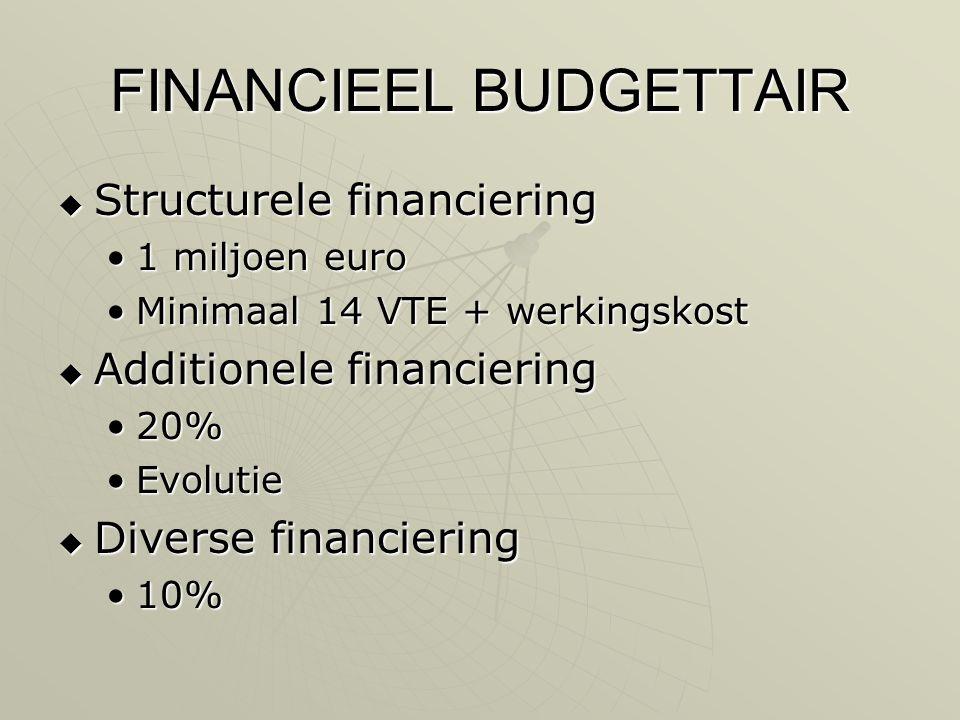 FINANCIEEL BUDGETTAIR  Structurele financiering •1 miljoen euro •Minimaal 14 VTE + werkingskost  Additionele financiering •20% •Evolutie  Diverse financiering •10%