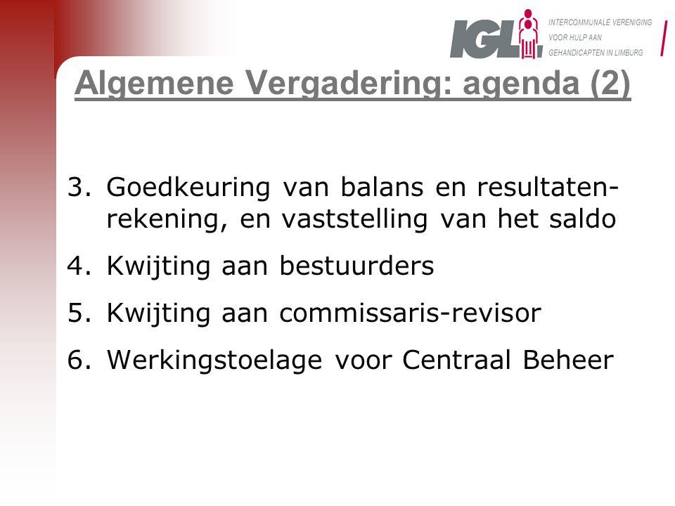 Algemene Vergadering: agenda (2) 3.Goedkeuring van balans en resultaten- rekening, en vaststelling van het saldo 4.Kwijting aan bestuurders 5.Kwijting aan commissaris-revisor 6.Werkingstoelage voor Centraal Beheer