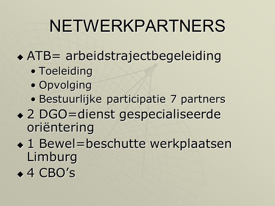 NETWERKPARTNERS  ATB= arbeidstrajectbegeleiding •Toeleiding •Opvolging •Bestuurlijke participatie 7 partners  2 DGO=dienst gespecialiseerde oriëntering  1 Bewel=beschutte werkplaatsen Limburg  4 CBO's