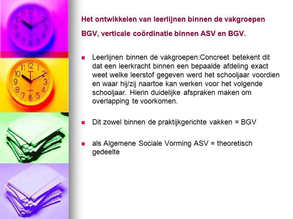 Het ontwikkelen van leerlijnen binnen de vakgroepen BGV, verticale coördinatie binnen ASV en BGV.