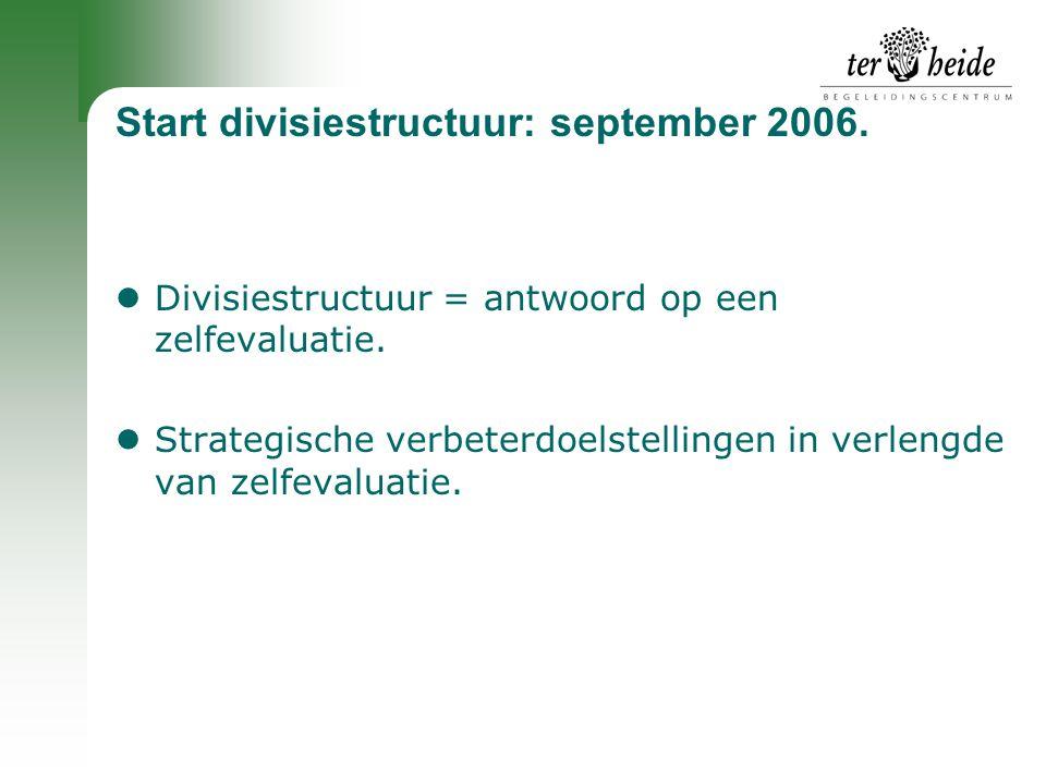 Start divisiestructuur: september 2006.  Divisiestructuur = antwoord op een zelfevaluatie.  Strategische verbeterdoelstellingen in verlengde van zel