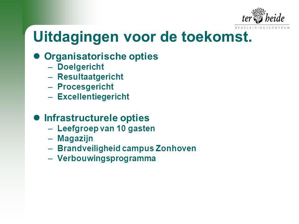 Uitdagingen voor de toekomst.  Organisatorische opties –Doelgericht –Resultaatgericht –Procesgericht –Excellentiegericht  Infrastructurele opties –L
