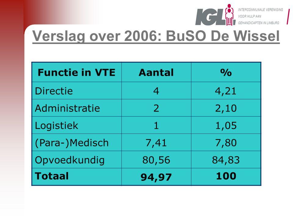 Verslag over 2006: BuSO De Wissel Functie in VTEAantal% Directie44,21 Administratie22,10 Logistiek11,05 (Para-)Medisch7,417,80 Opvoedkundig80,5684,83
