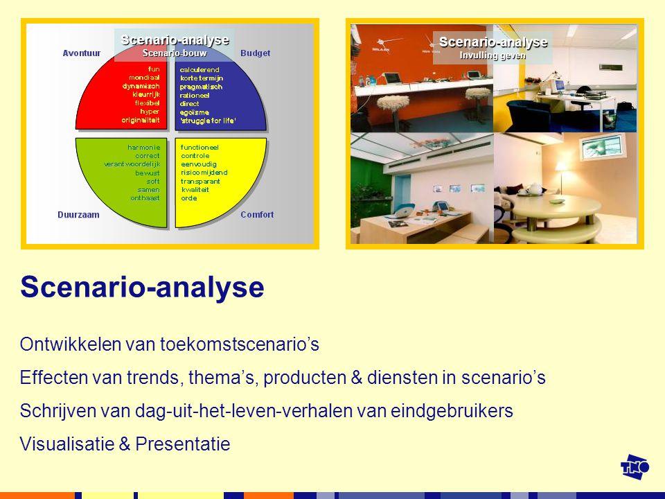 Scenario-analyse Ontwikkelen van toekomstscenario's Effecten van trends, thema's, producten & diensten in scenario's Schrijven van dag-uit-het-leven-verhalen van eindgebruikers Visualisatie & Presentatie Scenario-analyseScenario-bouw Scenario-analyse Invulling geven