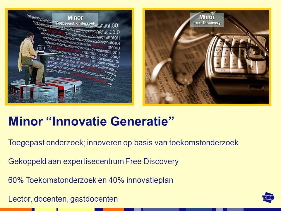 Minor Toegepast onderzoek Minor Free Discovery Minor Innovatie Generatie Toegepast onderzoek; innoveren op basis van toekomstonderzoek Gekoppeld aan expertisecentrum Free Discovery 60% Toekomstonderzoek en 40% innovatieplan Lector, docenten, gastdocenten