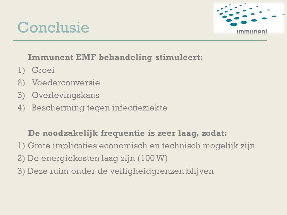 Conclusie Immunent EMF behandeling stimuleert: 1)Groei 2)Voederconversie 3)Overlevingskans 4)Bescherming tegen infectieziekte De noodzakelijk frequent