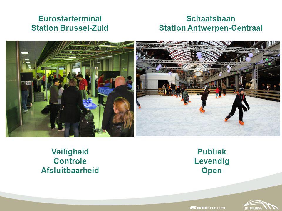 Eurostarterminal Station Brussel-Zuid Veiligheid Controle Afsluitbaarheid Publiek Levendig Open Schaatsbaan Station Antwerpen-Centraal
