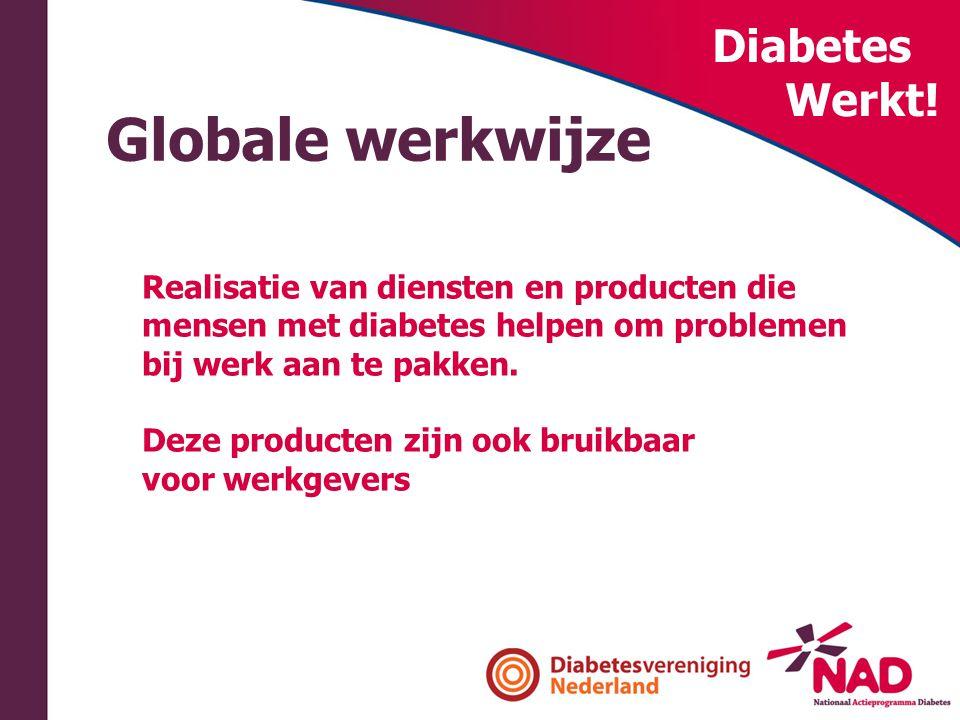 Diabetes Werkt! Globale werkwijze Realisatie van diensten en producten die mensen met diabetes helpen om problemen bij werk aan te pakken. Deze produc