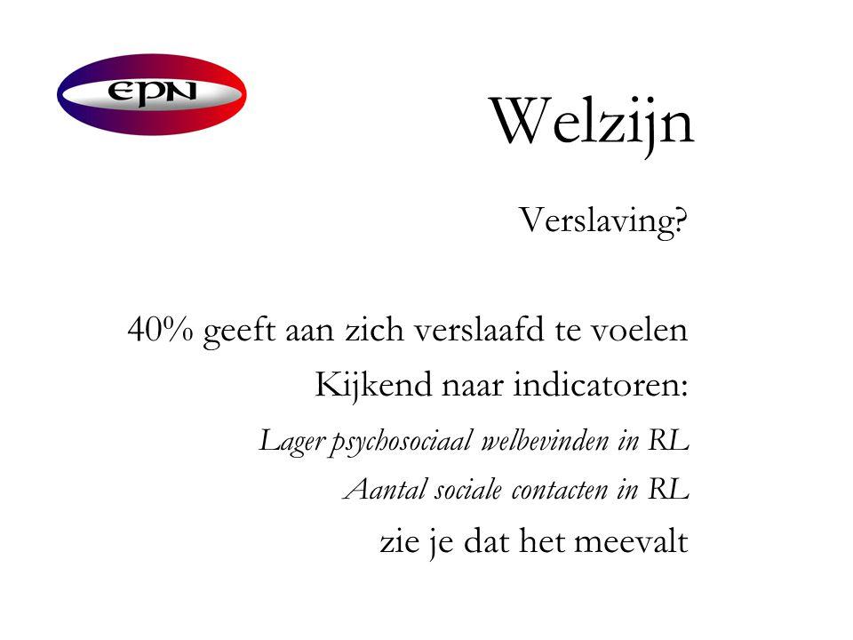 Welzijn Verslaving? 40% geeft aan zich verslaafd te voelen Kijkend naar indicatoren: Lager psychosociaal welbevinden in RL Aantal sociale contacten in