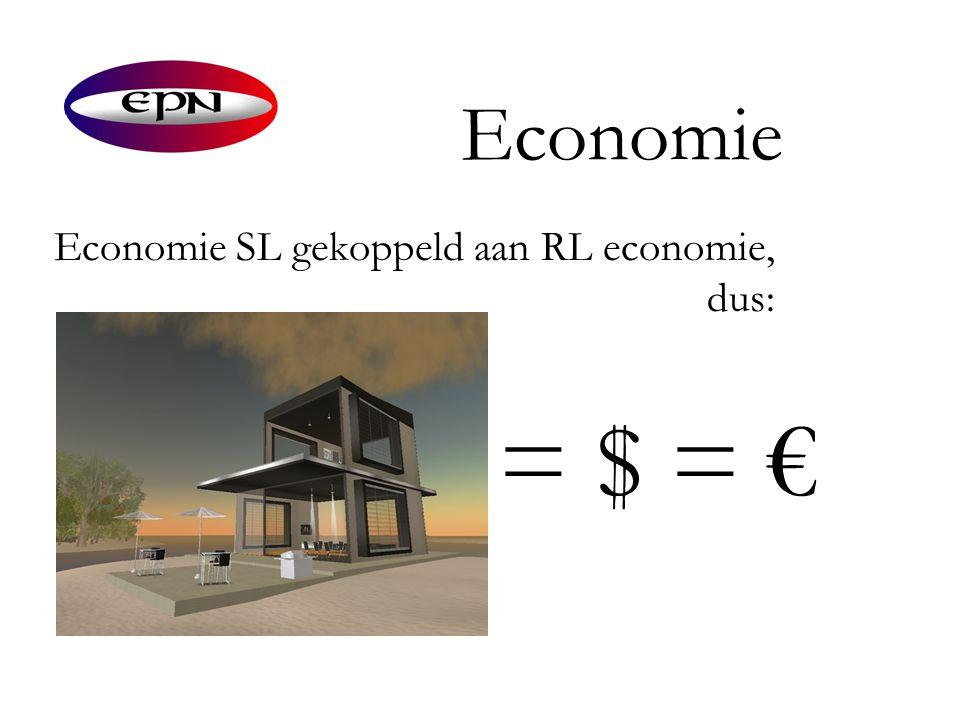 Economie Economie SL gekoppeld aan RL economie, dus: = $ = €