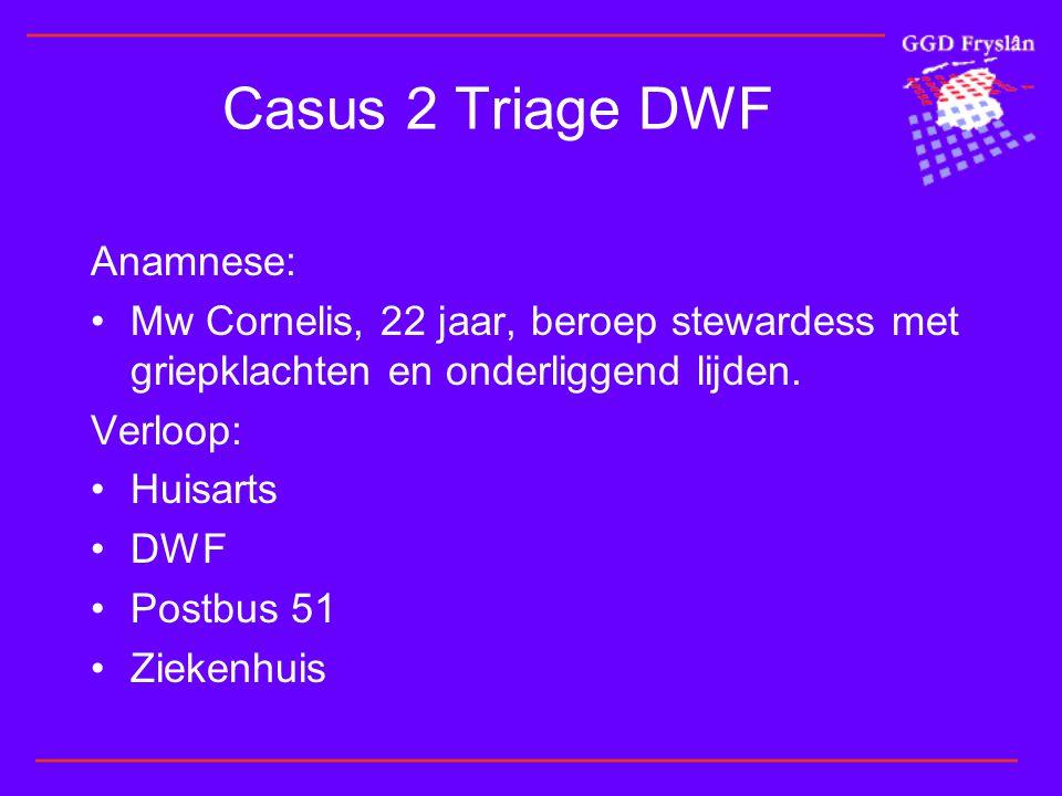 Casus 2 Triage DWF Anamnese: •Mw Cornelis, 22 jaar, beroep stewardess met griepklachten en onderliggend lijden.
