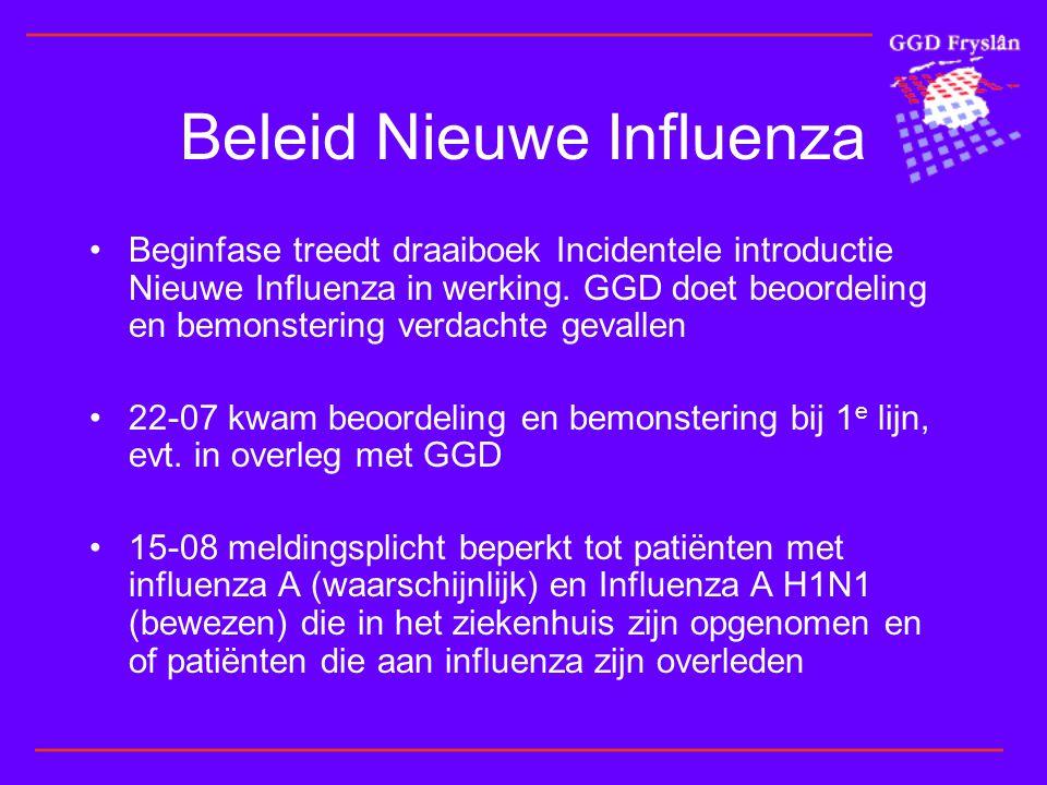 Beleid Nieuwe Influenza •Beginfase treedt draaiboek Incidentele introductie Nieuwe Influenza in werking.