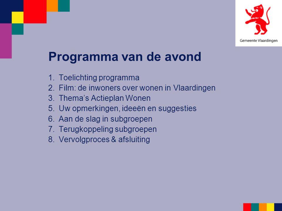 Programma van de avond 1.Toelichting programma 2.Film: de inwoners over wonen in Vlaardingen 3.Thema's Actieplan Wonen 5.Uw opmerkingen, ideeën en sug