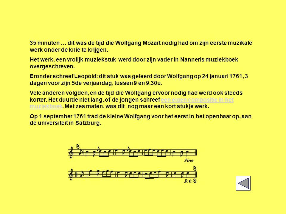 35 minuten … dit was de tijd die Wolfgang Mozart nodig had om zijn eerste muzikale werk onder de knie te krijgen.