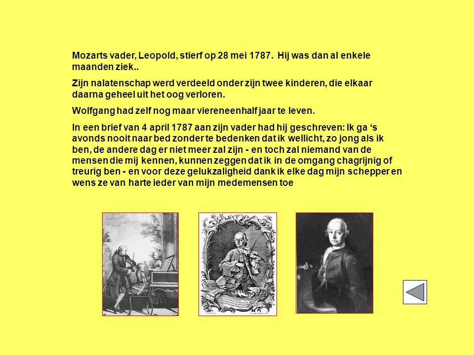 Mozarts vader, Leopold, stierf op 28 mei 1787. Hij was dan al enkele maanden ziek..