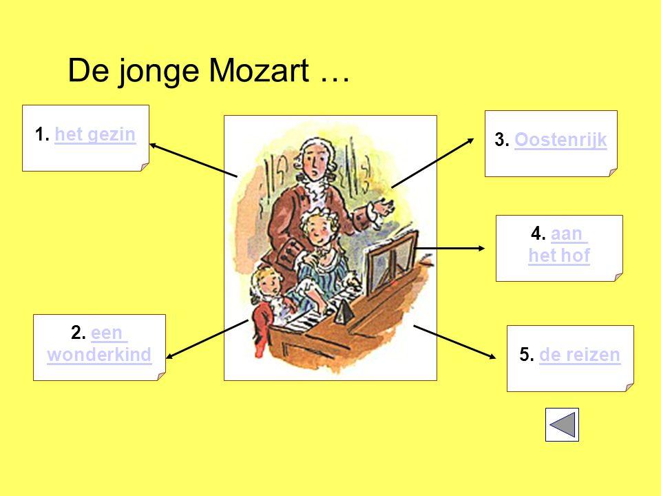 De jonge Mozart … 1. het gezinhet gezin 5. de reizende reizen 2.