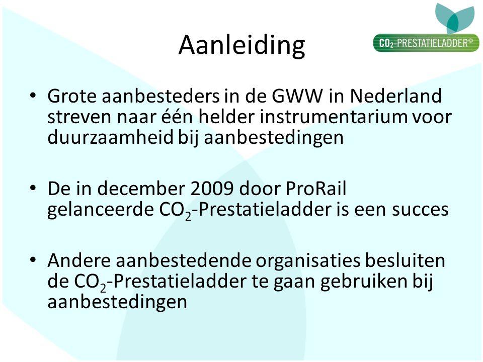 Aanleiding • Grote aanbesteders in de GWW in Nederland streven naar één helder instrumentarium voor duurzaamheid bij aanbestedingen • De in december 2009 door ProRail gelanceerde CO 2 -Prestatieladder is een succes • Andere aanbestedende organisaties besluiten de CO 2 -Prestatieladder te gaan gebruiken bij aanbestedingen