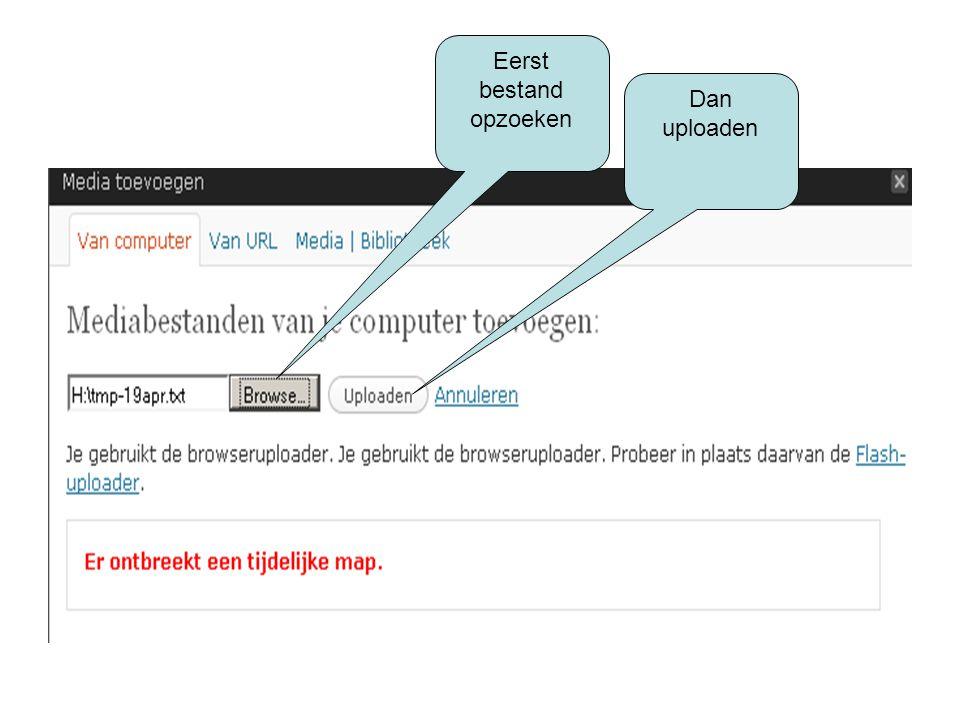 Na de upload Klik op invoegen in bericht zodat je in de pagina die je aan het bewerken bent meteen een linkje naar het document hebt staan Eindig met opslaan