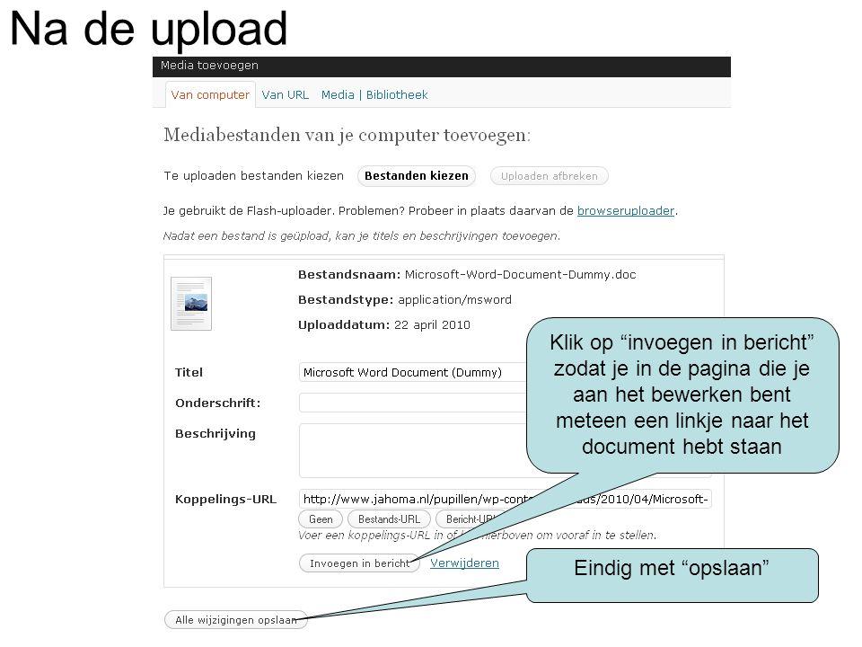 De pagina met de link naar het zojuist geuploade bestand.