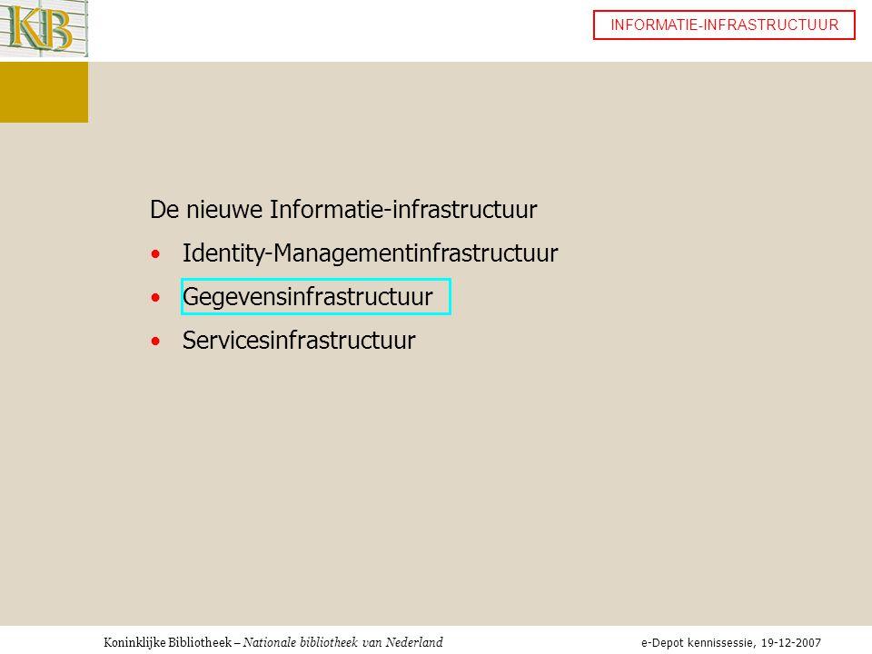 Koninklijke Bibliotheek – Nationale bibliotheek van Nederland INFORMATIE-INFRASTRUCTUUR De nieuwe Informatie-infrastructuur •Identity-Managementinfrastructuur •Gegevensinfrastructuur •Servicesinfrastructuur e-Depot kennissessie, 19-12-2007
