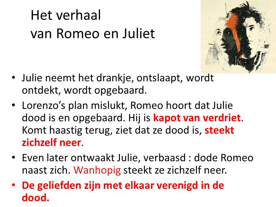 Het verhaal van Romeo en Juliet • Julie neemt het drankje, ontslaapt, wordt ontdekt, wordt opgebaard.
