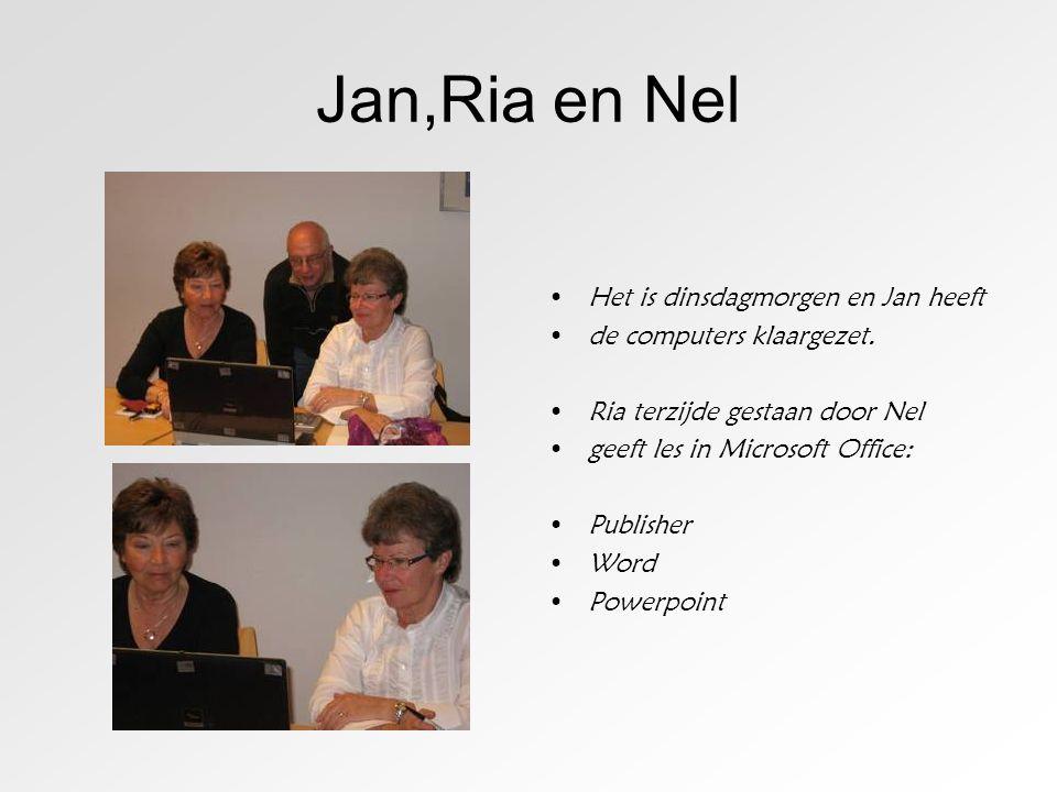 Jan,Ria en Nel •Het is dinsdagmorgen en Jan heeft •de computers klaargezet. •Ria terzijde gestaan door Nel •geeft les in Microsoft Office: •Publisher