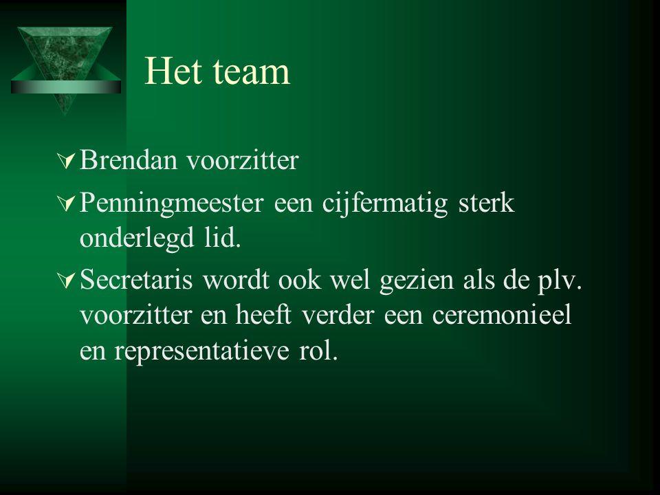 Het team  Brendan voorzitter  Penningmeester een cijfermatig sterk onderlegd lid.