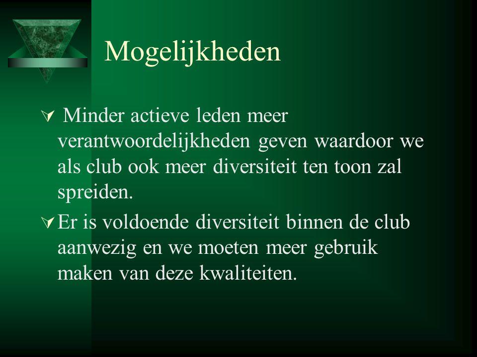 Mogelijkheden  Minder actieve leden meer verantwoordelijkheden geven waardoor we als club ook meer diversiteit ten toon zal spreiden.