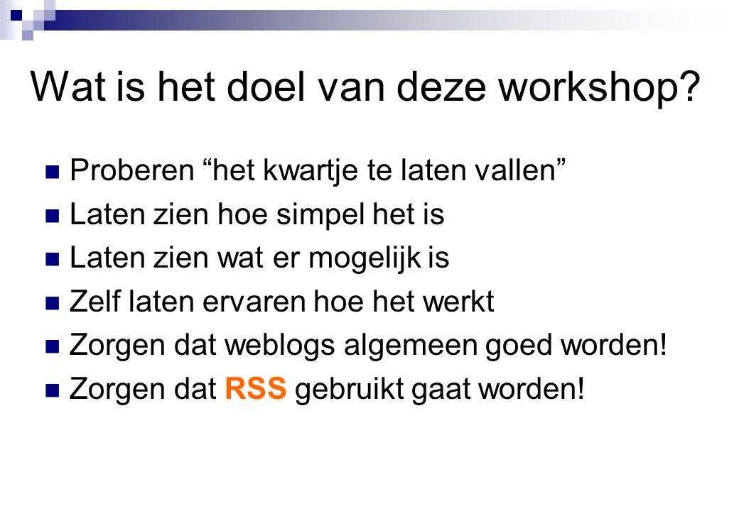 Wat is het doel van deze workshop.