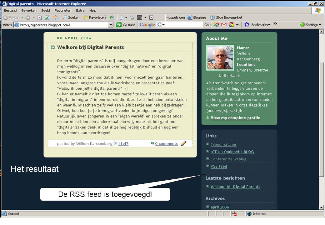 De RSS feed is toegevoegd! Het resultaat