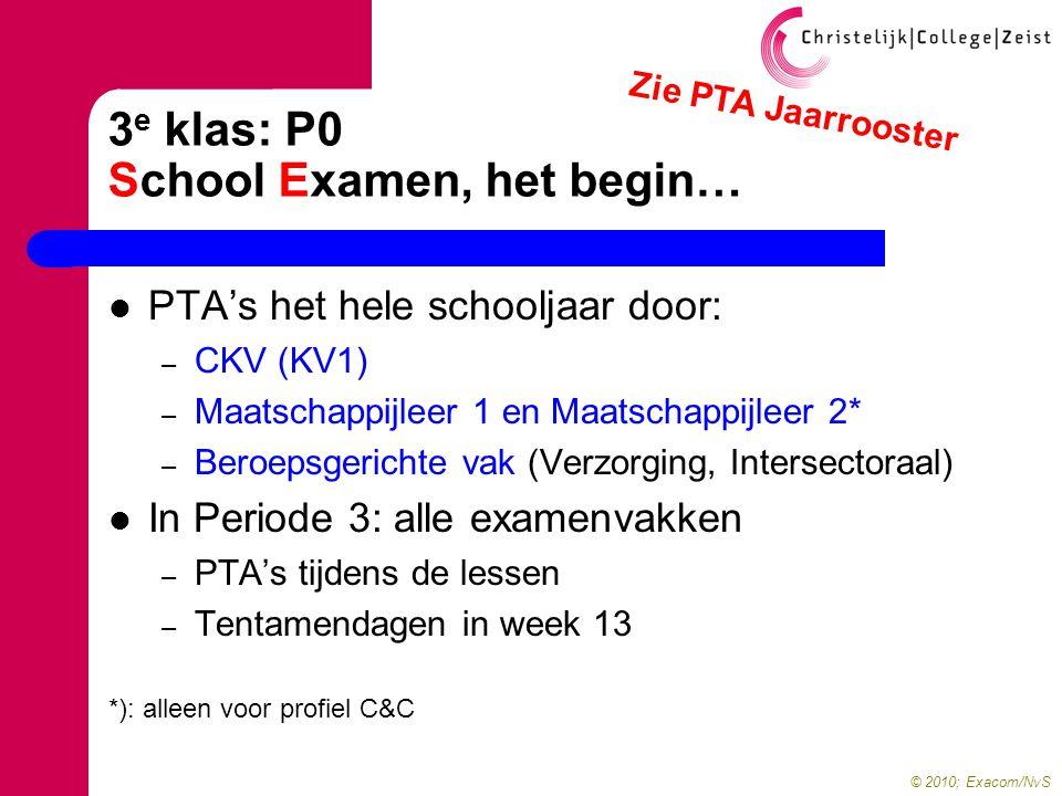 © 2010; Exacom/NvS 3 e klas: P0 School Examen, het begin…  PTA's het hele schooljaar door: – CKV (KV1) – Maatschappijleer 1 en Maatschappijleer 2* – Beroepsgerichte vak (Verzorging, Intersectoraal)  In Periode 3: alle examenvakken – PTA's tijdens de lessen – Tentamendagen in week 13 *): alleen voor profiel C&C Zie PTA Jaarrooster