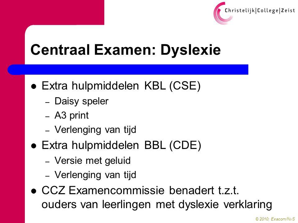 © 2010; Exacom/NvS Centraal Examen: Dyslexie  Extra hulpmiddelen KBL (CSE) – Daisy speler – A3 print – Verlenging van tijd  Extra hulpmiddelen BBL (CDE) – Versie met geluid – Verlenging van tijd  CCZ Examencommissie benadert t.z.t.