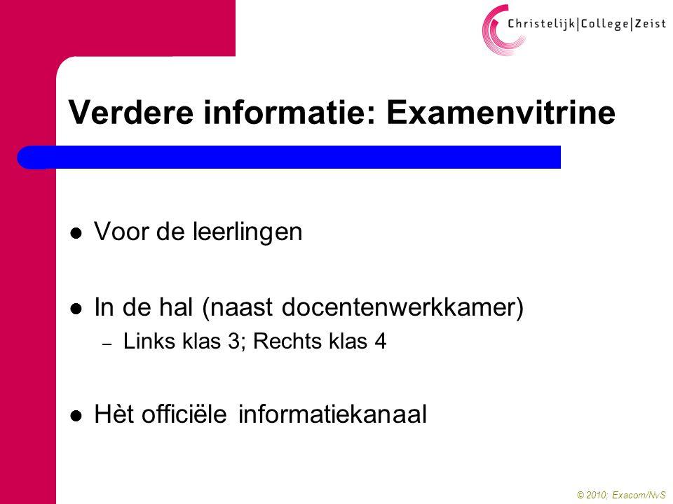 © 2010; Exacom/NvS Verdere informatie: Examenvitrine  Voor de leerlingen  In de hal (naast docentenwerkkamer) – Links klas 3; Rechts klas 4  Hèt officiële informatiekanaal